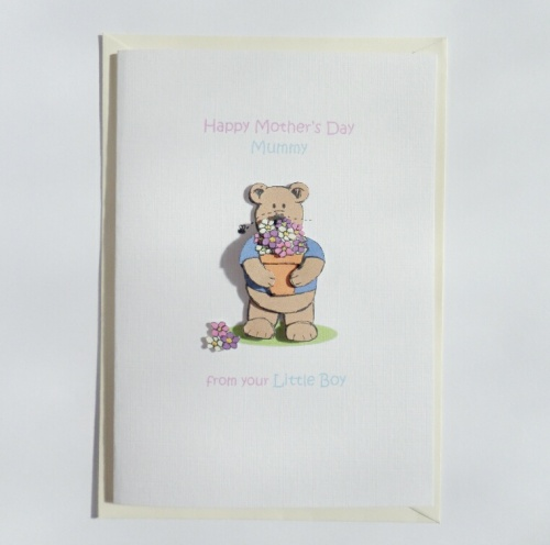 Mother's Day Mummy Card from your little boy Flowerpot Bear A6