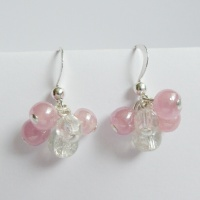 Pink Cluster Silver Plated Earrings