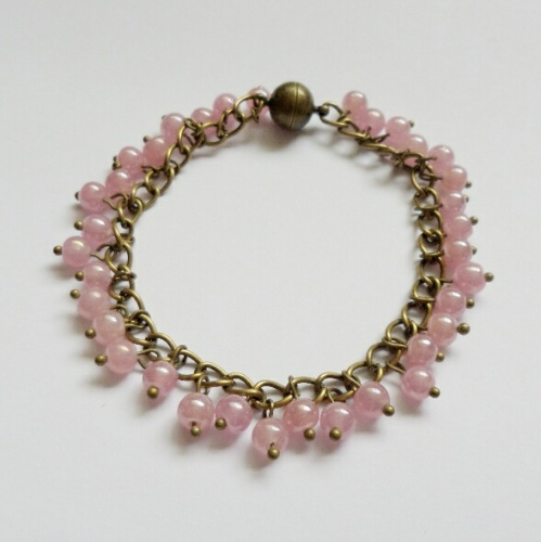 Pale Pink Antique Gold Bracelet