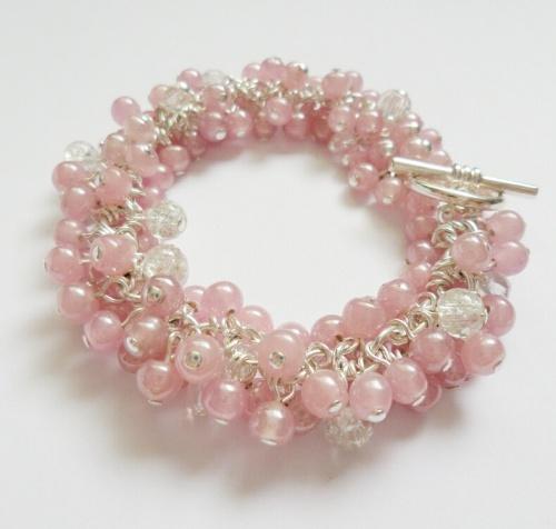 Pink Silver Plated Cluster Bracelet