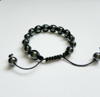 Mens Black Hematite Shamballa Style Bracelet