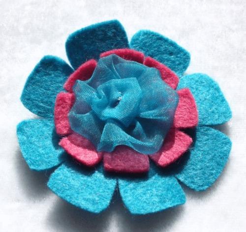 Blue & Pink Flower Felt Brooch