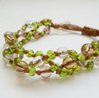 Green 3 Strand Beaded Macrame Style Bracelet
