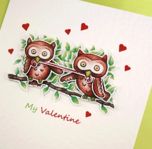 My Valentine Owls A6 Card