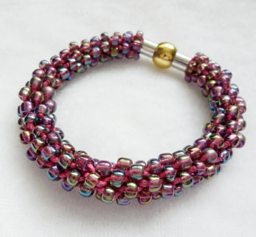 Amethyst Kumihimo Bracelet with Magnetic Clasp