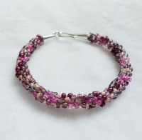 Plum Mix Kumihimo Bracelet with Hook Clasp