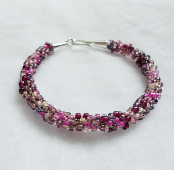 Plum Mix Kumihimo Bracelet with Hook Clasp