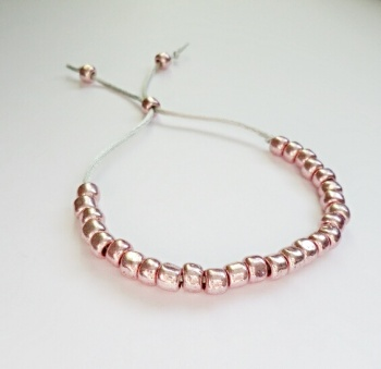 Copper Coloured Glass Pebble Bead Slider Bracelet