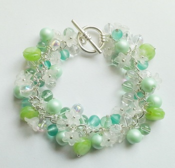 Spring Green Cluster Bracelet with Toggle Clasp