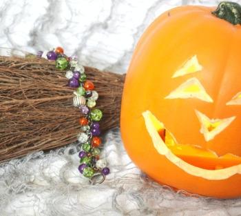 Halloween Pumpkin Cluster Charm Bracelet