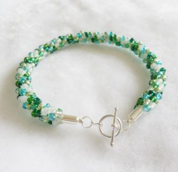 Green Mix Beaded Kumihimo Bracelet with Toggle Clasp