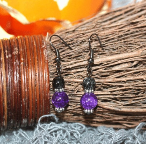 Halloween Purple Earrings