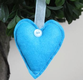Heart Felt Hanging Decoration - Bright Blue