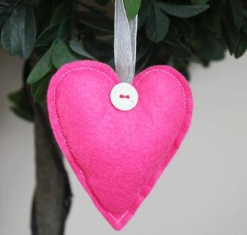 Heart Felt Hanging Decoration - Bright Pink
