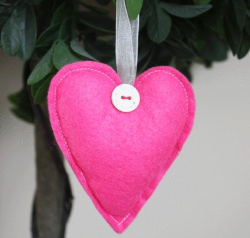 Heart Felt Hanging Decoration - Bright Pink