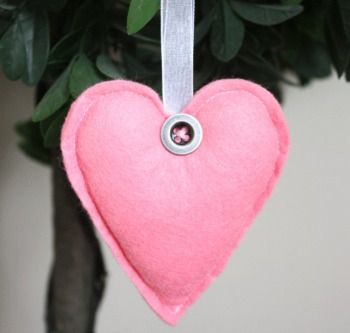 Heart Felt Hanging Decoration - Salmon Pink