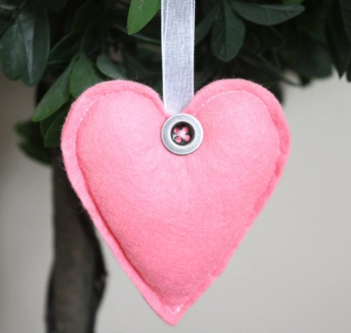 Heart Felt Hanging Decoration - Salmon Pink