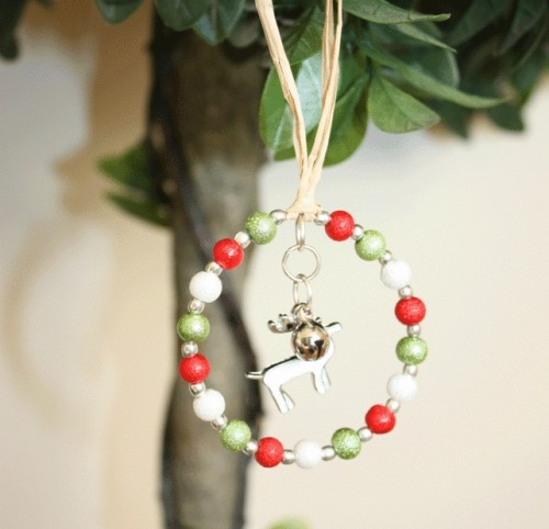 Christmas Tree Decoration with  White Reindeer