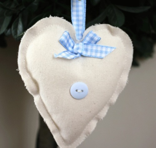 Heart Hanging Decoration - Blue Gingham