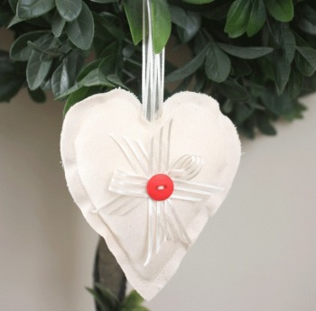 Heart Hanging Decoration - Red Button