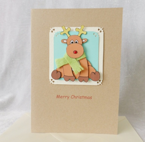 A5 Cute Christmas Reindeer with scarf