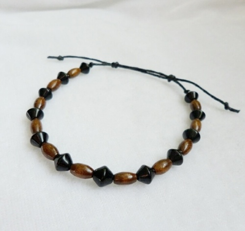Mens Wooden & Bicone Glass Bead Bracelet with Sliding Knots