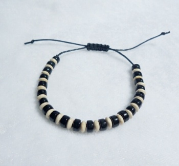 Mens Wooden & Glass Bead Bracelet with Macrame Fastener