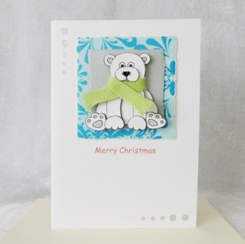 A5 Cute Christmas Polar Bear with scarf