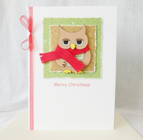 A5 Cute Christmas Owl with red scarf