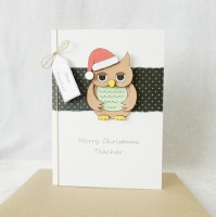 A6 Teacher Christmas Robin with Santa hat