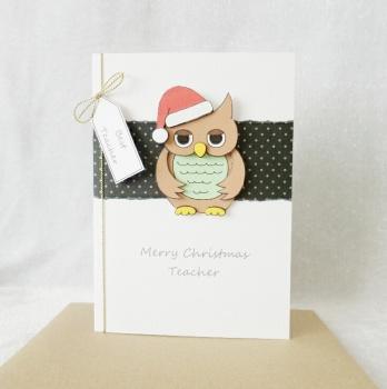 A6 Teacher Christmas Robin with Santa hat