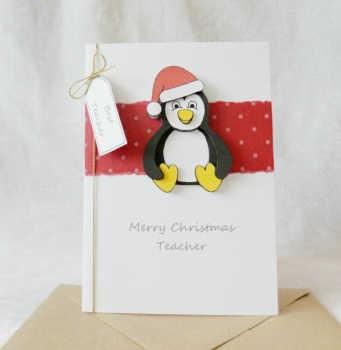A6 Teacher Christmas Penguin with Santa hat