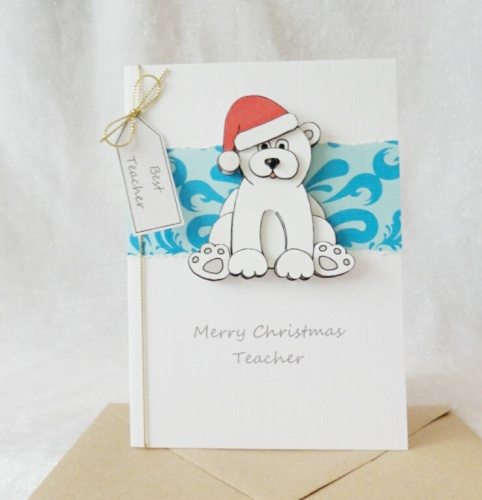 A6 Teacher Christmas Polar Bear with Santa hat