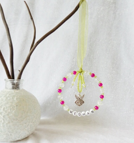 Personalised Christmas Tree Decoration - Pink & Green with Angel