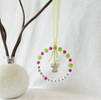 Best Teacher Christmas Tree Decoration - Pink, Green & Clear with Bell