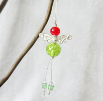 Angel Christmas Tree Decorations - Red & Green