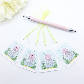 Jellyfish Gift Tags - set of 4 tags