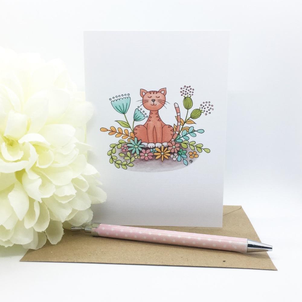 Floral Cat Card