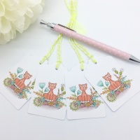 Floral Cat Gift Tags - set of 4 tags