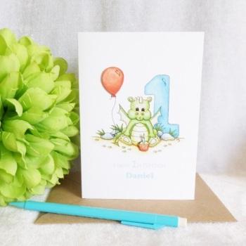 1st Birthday Baby Dragon Card