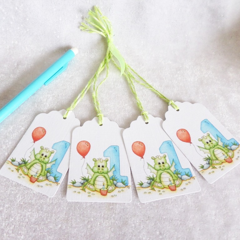 1st Birthday Baby Dragon Gift Tags - set of 4 tags