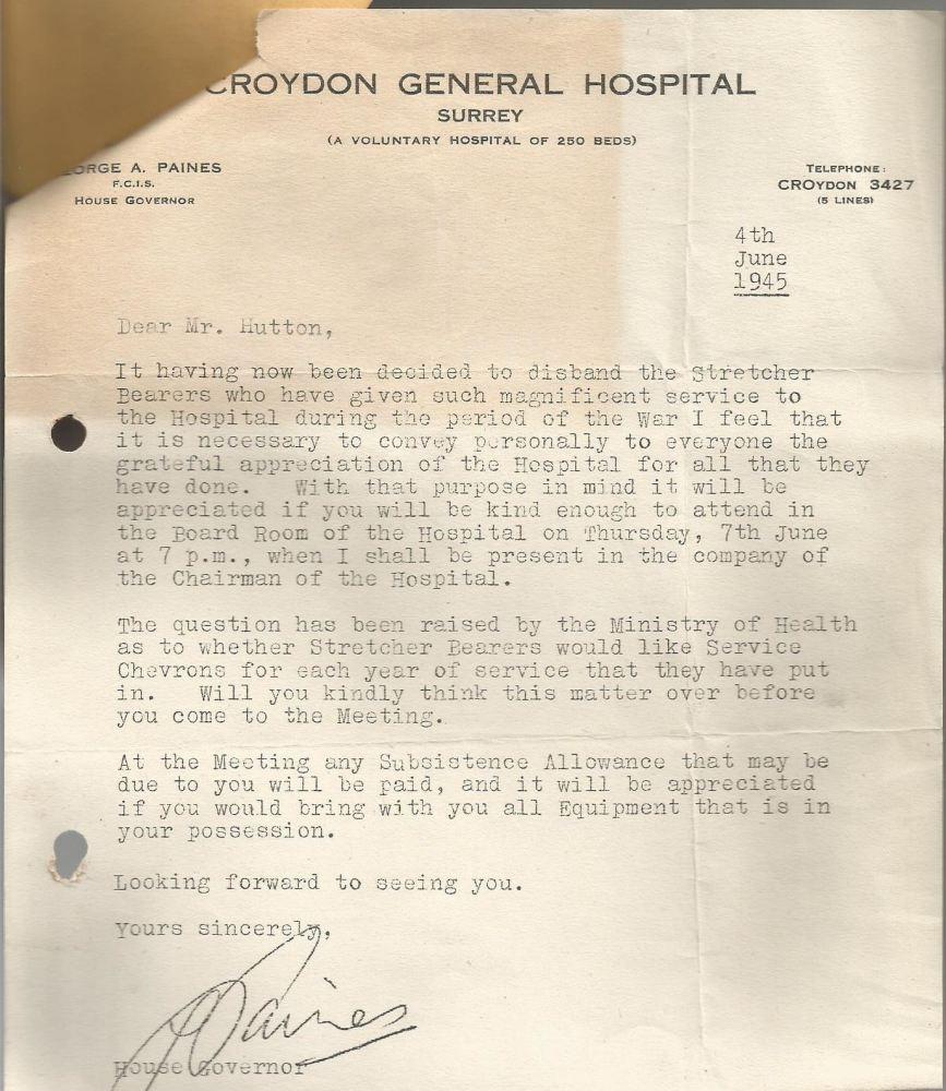 stretcher bearer thanks letter