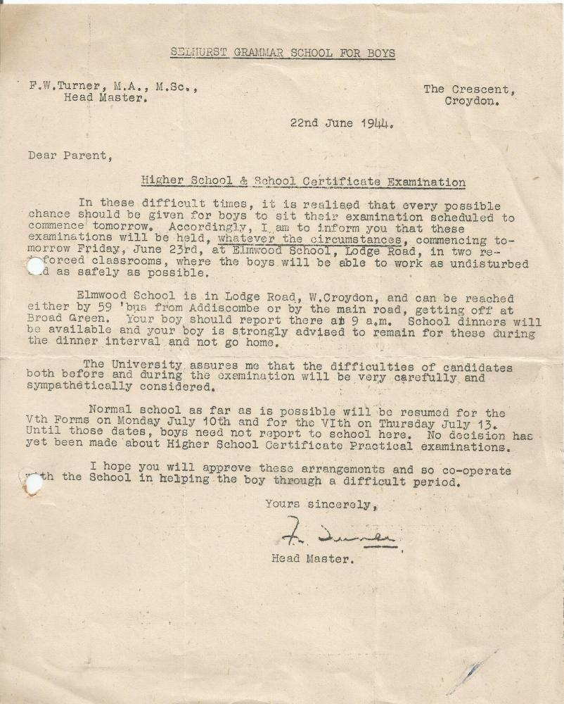 1944 exam sitting letter