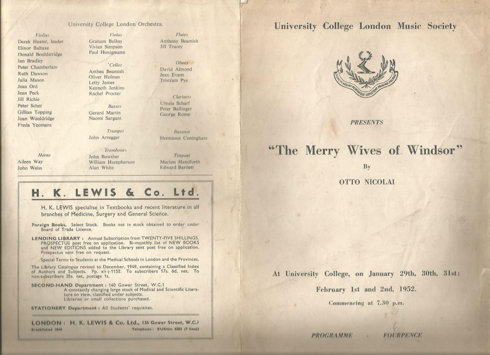 merry wives of windsor programme ucl jan-feb 1952 front and bac