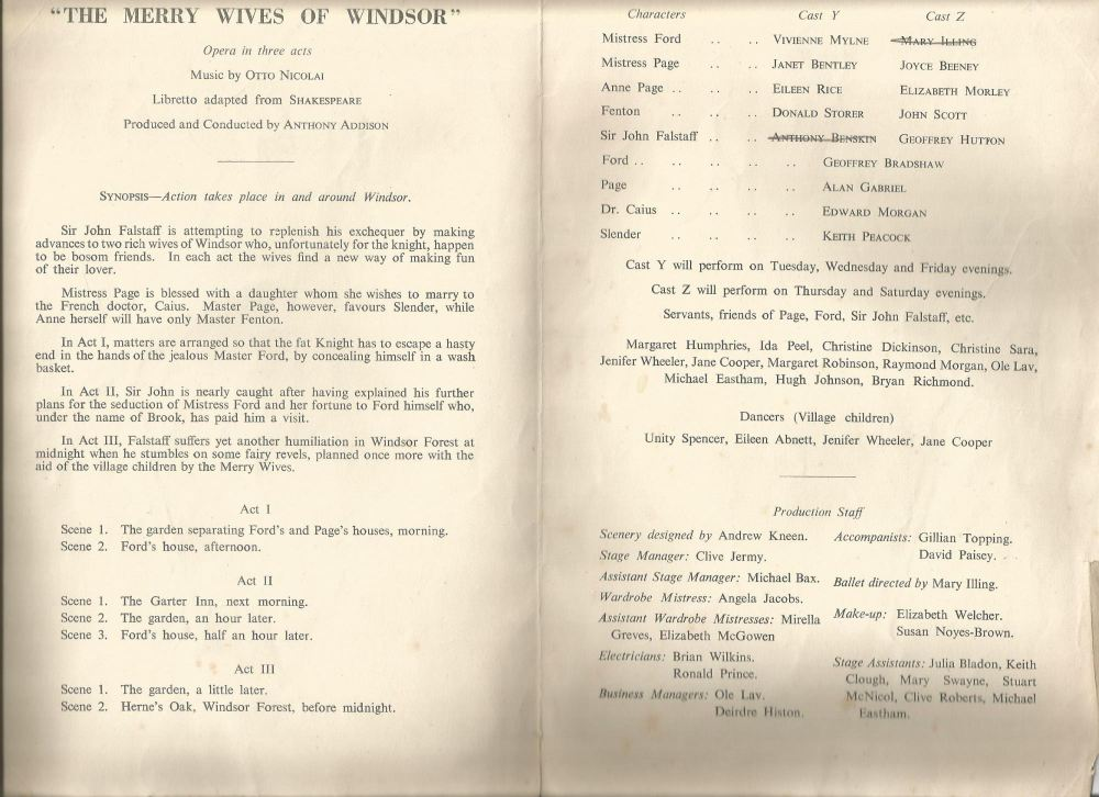 merry wives of windsor programme ucl jan-feb 19520001