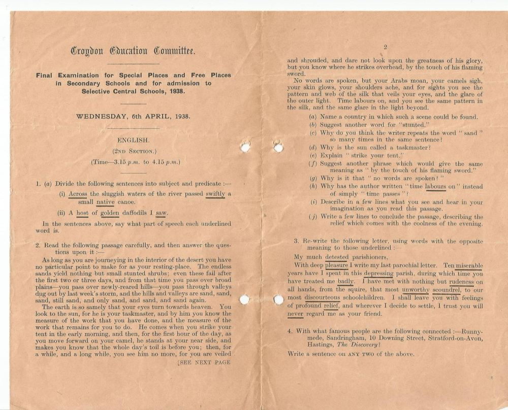 final entrance exam english section 2 6.4.1938