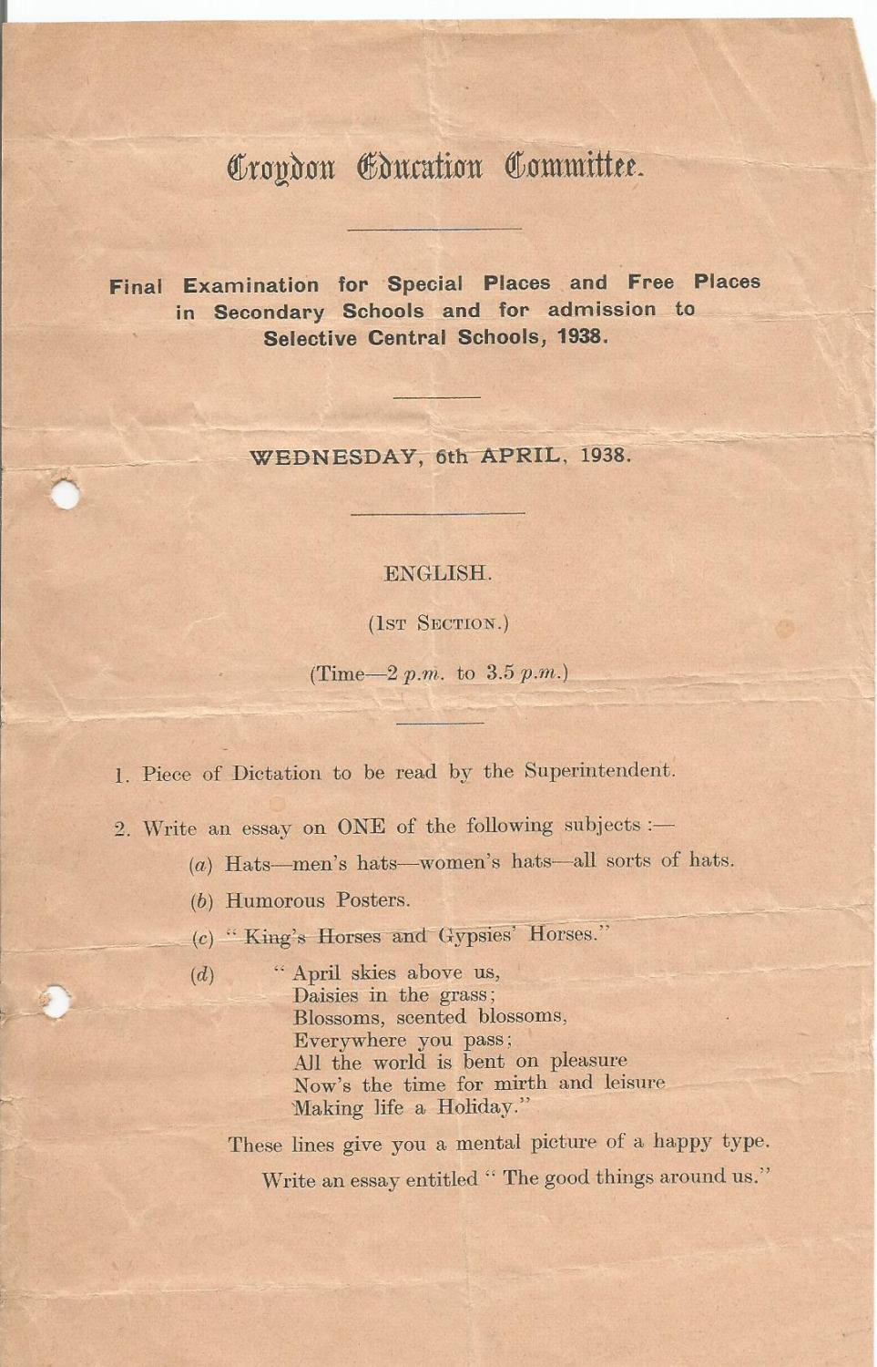 english section 1 final entrance exam 6.4.1938