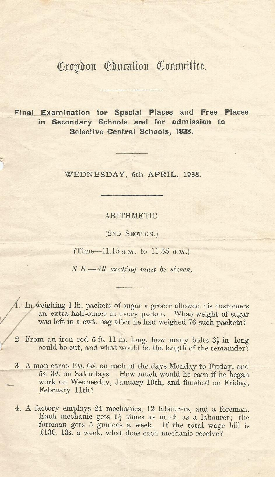 final entrance exam 6.4.1938 arithmetic section 2