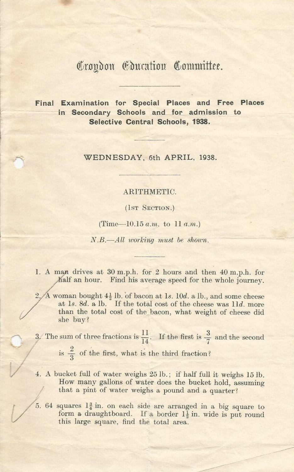 final entrance exam arithmetic section 1 6.4.1938