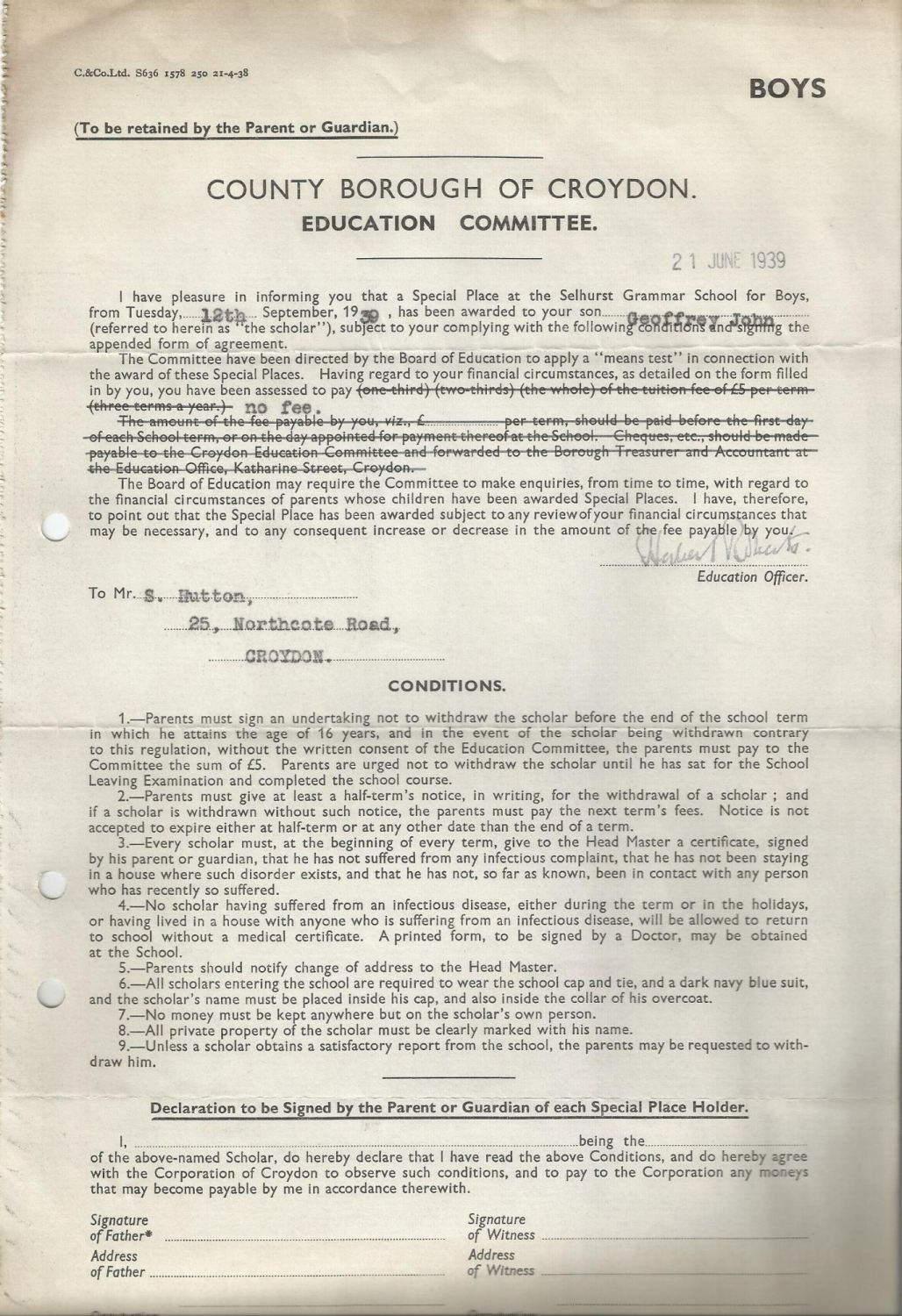 free place offered form 21.6.1939
